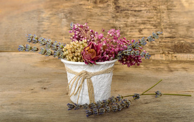 bouquet of dried flowers in the vase