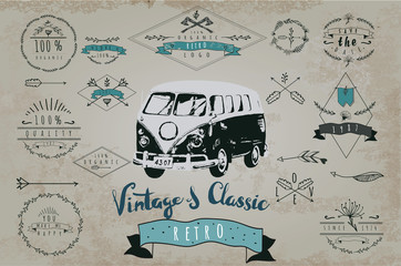 Retro hand drawn Set of vintager logo. with car