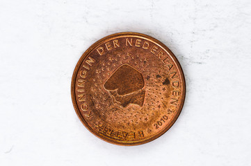 5 Euro cent Coin with Netherlands backside used look