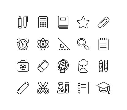 Set of school and education vector line icons: stationery, learning and science symbols and various school supplies.