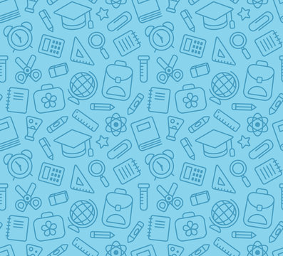 Seamless pattern of school and education related symbols: stationery, learning and science metaphors and various school supplies.