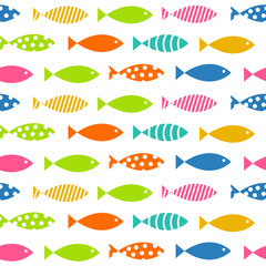 Mult Fish Seamless Pattern Background Vector Illustration