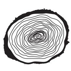 Stump. Muzzle. Cut of Tree. Vector Illustration.