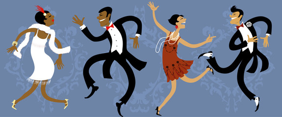 Wall Mural - Two couples dressed in 1920s style dancing the Charleston, vector illustration, EPS 8