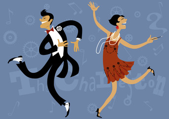 Fototapete - Cartoon couple dancing the Charleston, vector illustration, EPS 8