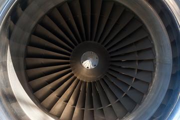 Close up Jet engine turbine front view