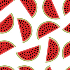 pattern of slices of watermelon on a white background