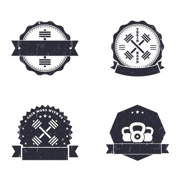 Fitness, Gym grunge logos, emblems, signs with crossed barbells, vector illustration, eps10, easy to edit