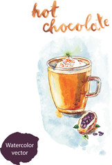 Watercolor hot chocolate