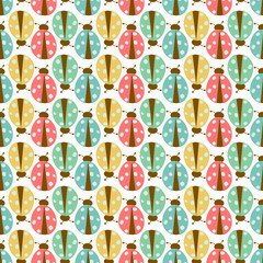 Seamless ladybug wallpaper vector illustration