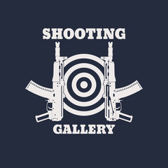 Shooting Gallery emblem with automatic rifle, gun, vector illustration, eps10