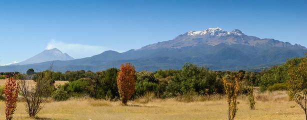 Popocatepetl and Iztaccihuatl. Mexico vulcanoes. Panoramic view