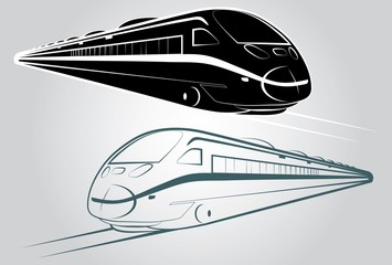 Train outline and silhouette vector