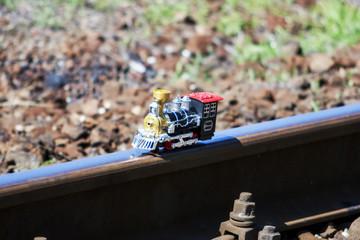 toy steam loco on the rail