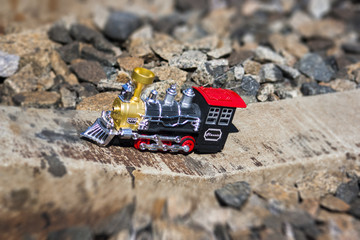 Toy steam loco on the sleeper