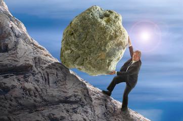 Sisyphus metaphor man rolling huge rock ball up hill