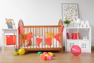 Bright newborn room interior
