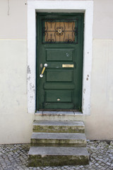 Green wooden door