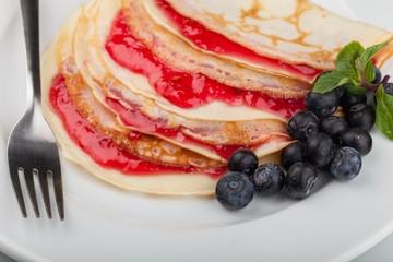 Pancake, Crepe, Preserves.
