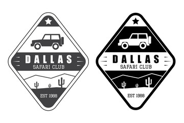 Set of safari club vector logo in vintage style
