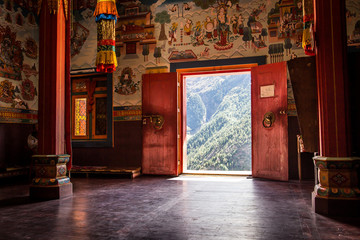 Recess Fitting Nepal Buddhist monastery in the middle of the mountain.