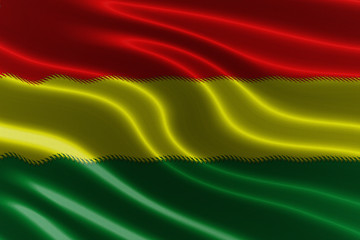 Rasta pattern on fabric texture waving flag
