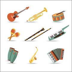 Set of music instruments. Flat style design.