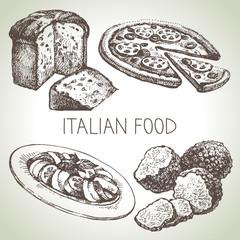 Hand drawn sketch Italian food set.Vector illustration