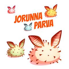 Set of sea cute slug Jorunna Parva. Vector illustration