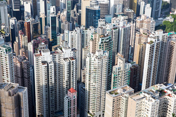 Crowded Apartment Building in Hong Kong