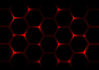 Abstract  dark red  background with hexagons and red light