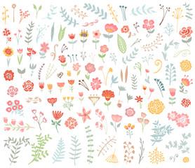 Floral hand drawn vintage set