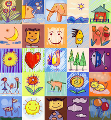Children's Drawing Styles. human family, animals, nature, object