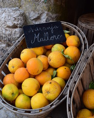 Oranges from Majorca on sale in Valldemossa