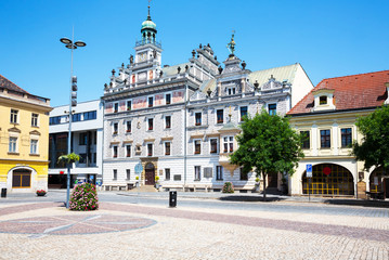 Kolin marketplace, view of City Hall, Czech Republic