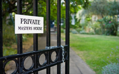 Masters House, Inner Temple, London. A sign indicating privacy for a Masters House in London's Temple Bar legal district.