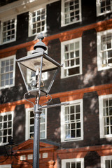 Victorian gas lamp. A rare example of a working London gas lamp in the Temple Bar legal district.