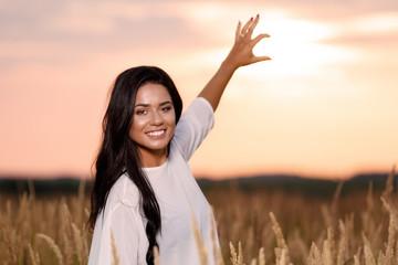 Free Happy Woman Enjoying Nature and Freedom. Beauty Girl Outdoo