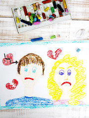 Representation of marriage break up or divorce - colorful drawing