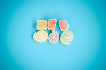 Colorful fruit-paste sweets with filter effect retro vintage sty