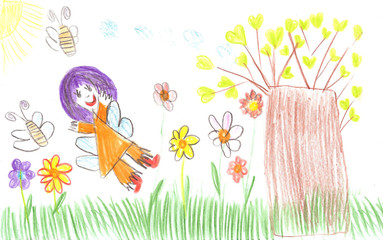 Child drawing fairy of a tale