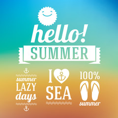 Hello summer icons set with sun and sea on blue background