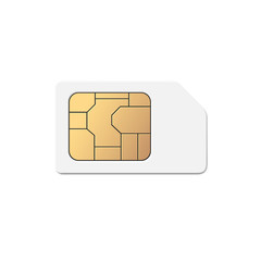 Vector Mobile Cellular Phone Sim Card Chip Isolated on