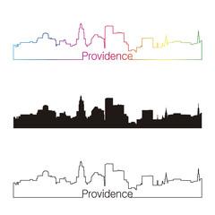 Providence skyline linear style with rainbow