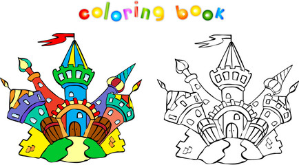 Funny colorful castle coloring book