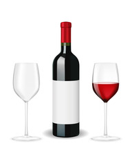 Bottle of red wine with two glasses and blank lable