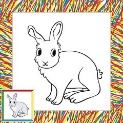 Funny cartoon rabbit coloring book