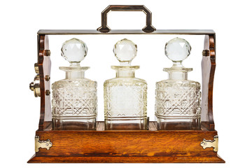 Vintage wooden cabinet with glass bottles
