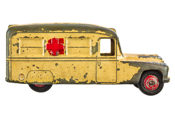 Vintage toy ambulance isolated on white