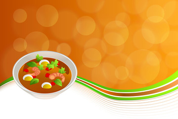 Abstract background food sea Thai soup red green yellow shrimp egg frame illustration vector